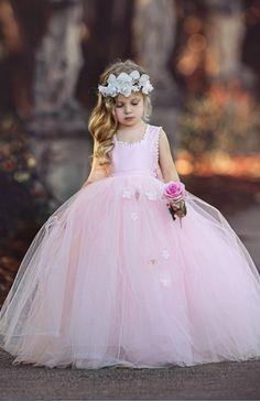 Princess Pink Sleeveless Ball Gown Tulle Flower Girl Dresses  671407ebb3b5