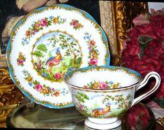 Royal Albert CHELSEA BIRD & ROSES TURQUOISE Tea Cup and Saucer Bone China #RoyalAlbertEngland