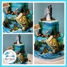 Hand Painted Bass Wedding Cake – Blue Sheep Bake Shop