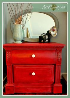 Firecracker Red Nightstand Makeover by Art is Beauty