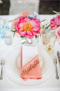 Gorgeous place setting with laser cut name.