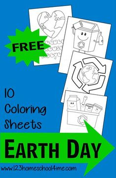Celebrate Earth Day on April with these FREE Earth Day Coloring Sheets for Kids. These Earth Day Activities are great for young kids of all ages. Earth Day Games, Earth Day Activities, Science Activities, Classroom Activities, Earth Day Coloring Pages, Recycling For Kids, Recycling Activities For Kids, Earth Day Crafts, 2 Kind
