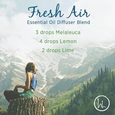 This essential diffuser blend is a breath of Fresh Air! Melaleuca essential oil provides an herb scent and protects against environmental threats. Lemon essential oil boasts a clean, fresh, citrus scent and cleanses and purifies the air. And Lime essential oil positively effects the mood while stimulating the senses. A wonderful blend to diffuse in your home every day! www.hayleyhobson.com
