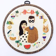 Hand Embroidered Custom Portrait with a by BaobapHandmade on Etsy