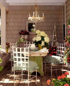 Shabby Porch...with chandelier.