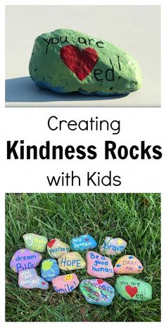 Have you heard about the Kindness Rocks movement? The second I read about it, I knew it would be a fun random act of kindness project for kids. I often wonder how much of the negativity in our world our children are aware of. They overhear news stories, Kindness For Kids, Teaching Kindness, Kindness Activities, Kindness Rocks, Activities For Kids, Kindness Matters, Random Acts Of Kindness Ideas For School, Bubble Activities, School Age Activities