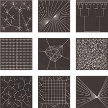 Anton Stankowski - Linolschnitte, 1961 - Wachsende, bipolar, zweiteilige, regelmäßige, von außen nach innen verlaufende, zufällige, (vegetative), koordinative und zentrale Verbindungen.
