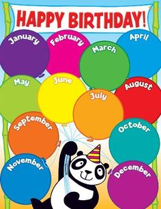 Scholastic Panda Birthday Chart, a book by Teacher's Friend Birthday Calendar Classroom, Birthday Bulletin, Classroom Rules Poster, Classroom Charts, Elementary Bulletin Boards, Classroom Bulletin Boards, Panda Birthday, Happy Birthday, Bulletin Board Design