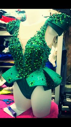 green lace leotard-corset with perles and rhinestones