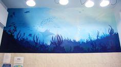 Decorative murals with spray #graffiti #Decoration #Murales #Spraypaint #Spray #Paint #fish #interior #sea #blue #atelierovunque #graffiti #painting #interiordesign #illustration #water #ocean #animal #barrier #Reef #mare #oceano #decorazione #pittura