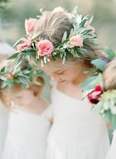 flower girl crowns - photo by Sophie Epton Photography http://ruffledblog.com/modern-romantic-wedding-with-boho-details