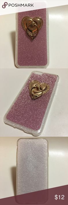 iPhone 6/6s Case Soft case with pink glitter and Gold ring stand Accessories Phone Cases