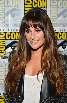 Lea Michele's blunt bangs, ombre hair, and gorgeous makeup make for one amazing look at Comic Con 2012 this past weekend.