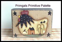Primitive poulet bois étagère Sitter bois bloc Saltbox maison Willow Tree peint à la main décoration