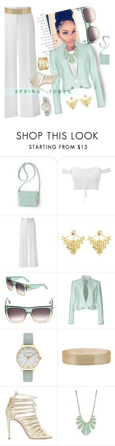"""SpringTones"" by liligwada ❤ liked on Polyvore featuring Henri Bendel, Gucci, Thierry Mugler, Olivia Burton, Balmain, Casadei and New Directions"