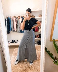 Women S Fashion Leotard Body Top Skirt Outfits Modest, Curvy Outfits, Casual Fall Outfits, Modest Dresses, Modest Clothing, Summer Outfits, Cute Skirts, Midi Skirts, Jean Skirts