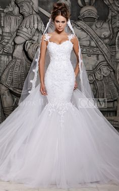 This super sexy lace wedding dress is ultra modern and cool. It features a mermaid style fit that hugs a feminine silhouette in all the right places. Floral and lace detailing add a romantic element, balancing out the sophisticated look. Floral straps compliment the sweetheart neckline and perfectly frame the open back, which adds to the intrigue. The dress flares out from behind, creating drama and distinguishing this dress from other similar styles.#DorisWedding #Mermaid #Lace  #2016
