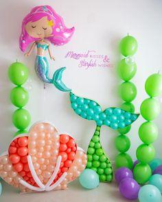 36 Ideas Birthday Wishes Ideas Little Mermaids Balloon Decorations Party, Balloon Garland, Birthday Party Decorations, Party Themes, 1st Birthday Parties, Birthday Wishes, Mermaid Balloons, Mermaid Theme Birthday, Mermaid Parties