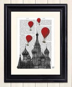 This St. Basil's Cathedral & Red Hot Air Balloons Dictionary Print is perfect! #zulilyfinds $11.99