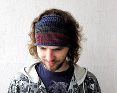 Knitted Mens Headband Guys knit hair wrap - blue burgundy grey for him Unisex Adults Dread band Headband Men, Knitted Headband, Headbands, Knitted Hats, Mens Crochet Beanie, Knitting Projects, Winter Hats, Burgundy, Unisex