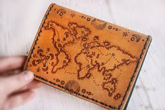 Leather Passport Cover - Custom World Map Hand tooled Leather Passport Wallet - Journey - Not all those who wander are lost - J. Leather Passport Wallet, Leather Luggage Tags, Leather Wallet, Leather Bags, Leather Carving, Leather Tooling, Tooled Leather, Passport Cover, Leather Journal