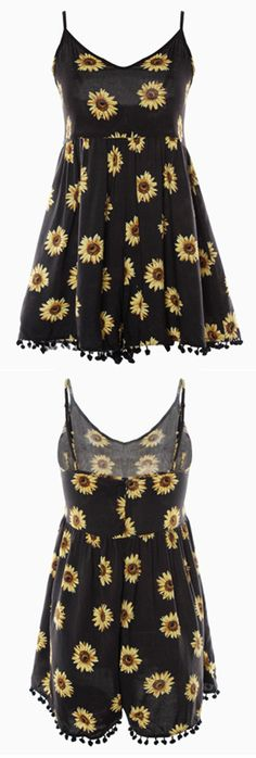 Fall in love with this season! Only $16.99 for your spring break! Choose the elements that work best with your overall style. That's Lazy Day Sunflower Printing Romper.  Pick it up at Cupshe.com !