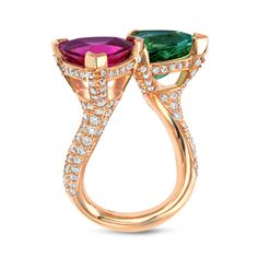 A Breathtaking Mint Green Tourmaline And Pink Tourmaline Twin Ring | From a unique collection of vintage cocktail rings at https://www.1stdibs.com/jewelry/rings/cocktail-rings/