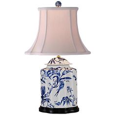 Floral White And Blue Jar Table Lamp