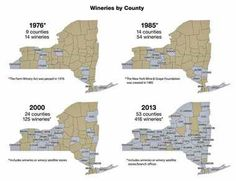 There were 14 New York wineries in just 9 counties in 1976. By 2013, there were 416 wineries or associated satellite branches in 53 of the s...