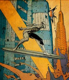 SILVER SURFER by Moebius. Oh pope/bishop/authoritative-church-person-of-some-kind of the Duomo in Milan.... We will always remember you.