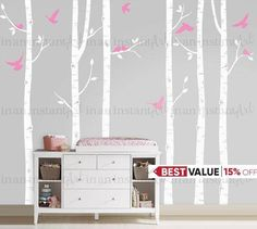 "In An Instant Arts original and best selling Birch Tree Wall Decals are easily customized wall decals for childrens rooms or a baby nursery. You can position and trim the birch trees however you like, its so easy to apply the kids can help. This set comes with custom color options, six birch trees and 10 birds. { APPROX. SIZES }  101"" TALL x 5 WIDE The trees can be trimmed for walls that are shorter during application. For taller trees, please message us for pricing. Whats Included: ~ 6…"