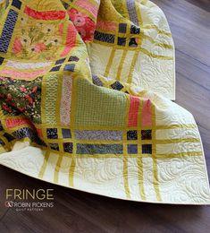 FRINGE quilt pattern by Robin Pickens using Dandi Annie fabrics Twin Quilt Pattern, Strip Quilt Patterns, Twin Quilt Size, Strip Quilts, Scrappy Quilts, Easy Quilts, Quilting For Beginners, Quilting Tutorials, Quilting Designs