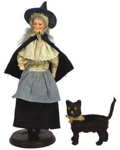 halloween fabric with black cats | 1094: Halloween witch & black cat figures, witch has a : Lot 1094