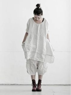 WOMEN CATEGORY :: CLOTH :: TOPS :: DRESS :: PAL OFFNER ワンサイズリネンチュニック ICE GREY