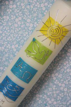 Taufkerze, Kommunionkerze von hand-art-beit auf DaWanda.com