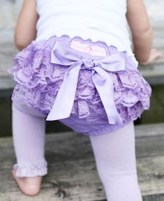 Your little princess will twirl in delight in this adorable Lavender Lace Bloomer!