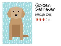 Golden Retriever paper pieced quilt block