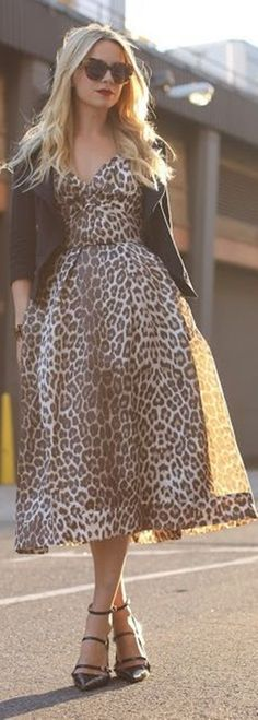 Warm Winter Clothing Outfit For Girls Long Sleeves Leopard Pattern Skirt Dresses