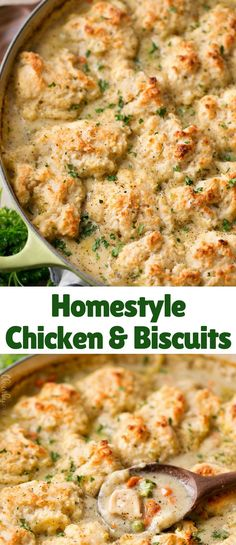 Creamy chicken and vegetables, all cooked in the same pan, topped with fluffy homemade drop biscuits, then baked until browned and bubbly!