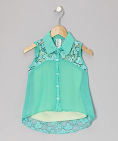 Take a look at this Mint Lace Button-Up Top on zulily today!