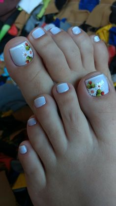 Subtle French tip toes with flower design Toenail Art Designs, Pedicure Designs, Toe Nail Designs, Pretty Toe Nails, Cute Toe Nails, Pedicure Nail Art, Toe Nail Art, Hair And Nails, My Nails