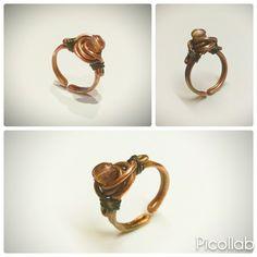 Ring copper & glass