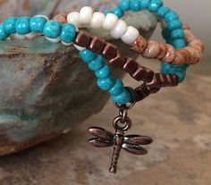 Set of 3 Turquoise Copper Stretch Bracelets by RedWillowCreations