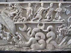 280-300 ad. Front of the sarcophagus of Jonah, from the Vatican necropolis.Ancient Roman,Paleochristian,Vatican Museums Museo Pio Cristiano Rome. Roman Sculpture, Lion Sculpture, Vatican, African Art, Statue, History, Museums, Rome, Historia