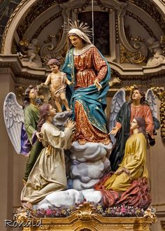 Our Lady welcoming into Heaven those released from Purgatory. A lie from the catholic religion. Purgatory doesn't exist and Mary has no power...