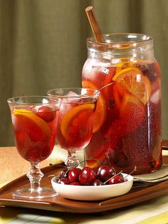 Fall Sangria: 3 apples,    3 pears,  3 clementines,  2-3 cinnamon sticks,  2 tbsp honey or agave syrup,  6 oz triple sec or cointreau,  2 bottles of red wine (something fruity works best)  optional: fresh cherries,          Direction: core and cube all fruit and put into a pitcher or carafe. add 2-3 cinnamon sticks & 2 honey, stir. add liquor and wine, stir and let sit.