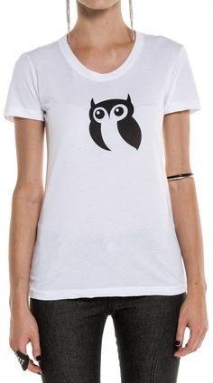Owl Printed Logo Tee. Grey combo tee is a polyester cotton rayon blend and the white tee is 100% cotton both with screen printed logos. Like us on Facebook, Twitter, or Instagram! On occasion we will