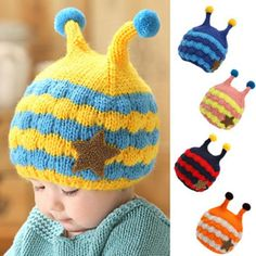 New Fashio Children Baby Winter Handmade Cartoon Bee Crochet Earflap Hat Beanie Cap X5 H2 #Affiliate