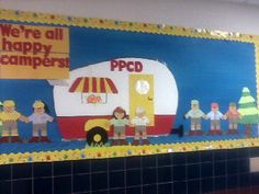 """My PPCD classroom theme for Our hallway bulletin board complete with a retro teardrop camper and all of our little """"happy campers"""". Preschool Classroom, Classroom Themes, Woodlands Camping, Camper Signs, Reading Themes, Library Lessons, Camping Theme, School Themes, Kids Church"""