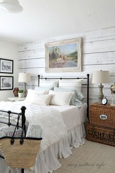 Nice 65 Classic and Vintage Farmhouse Bedroom Ideas. More at